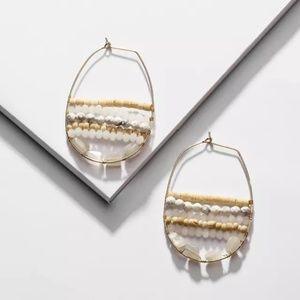 Anthropologie Big Hoop Earrings Wood Stone Beaded